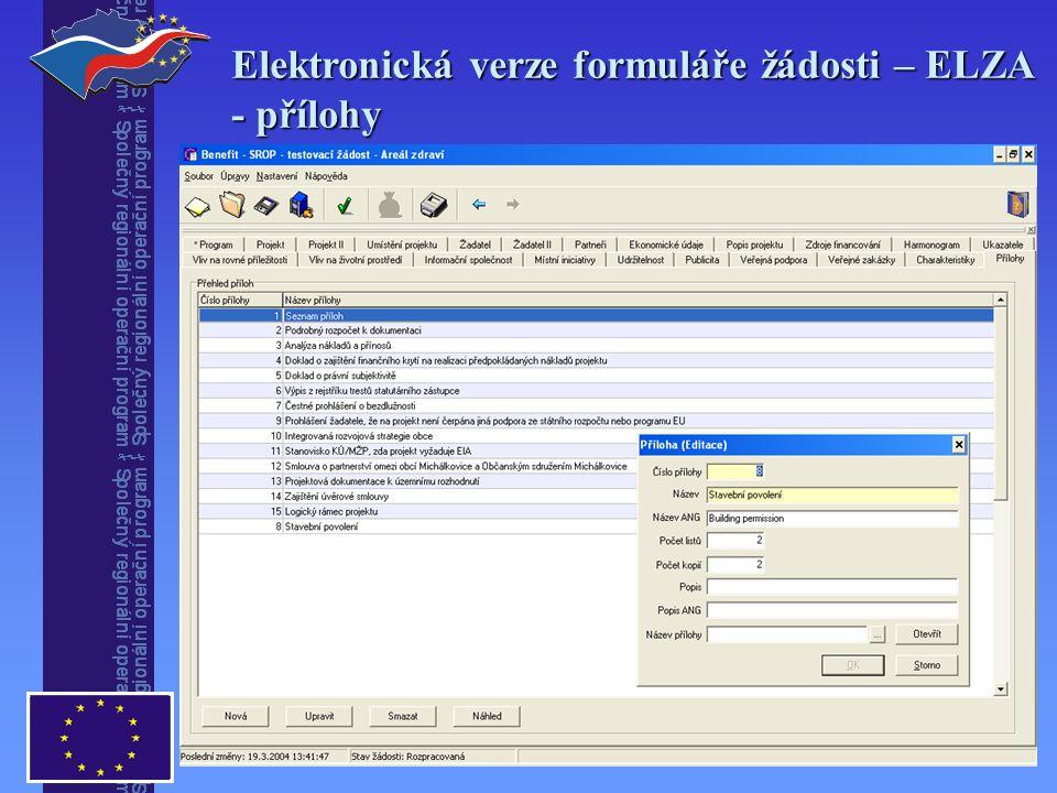 Elektronická verze formuláře žádosti – ELZA - přílohy