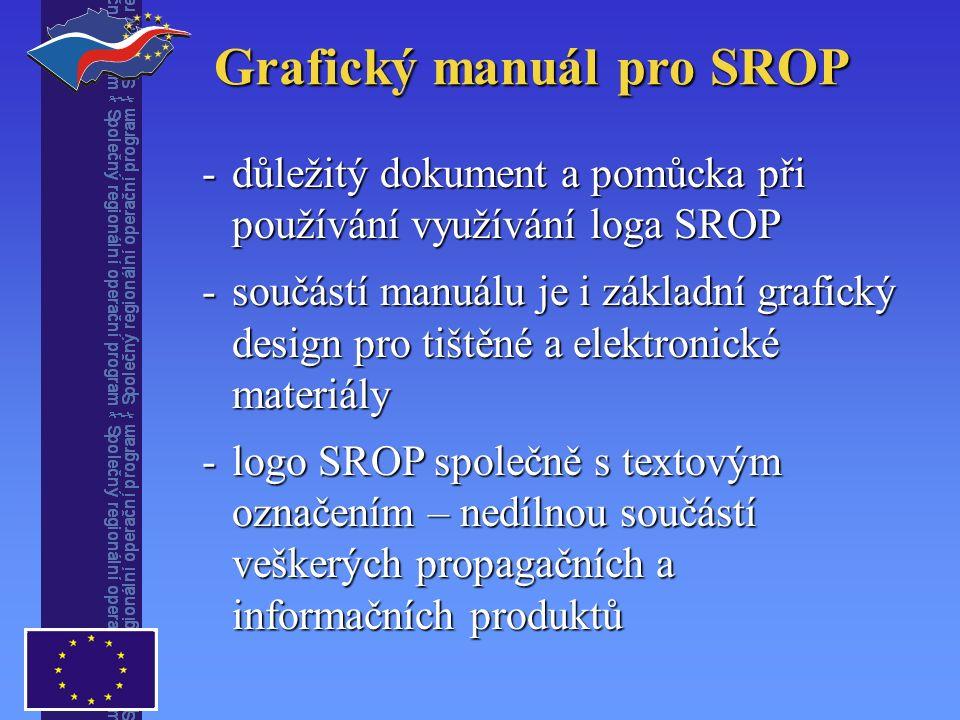 Grafický manuál pro SROP -důležitý dokument a pomůcka při používání využívání loga SROP -součástí manuálu je i základní grafický design pro tištěné a elektronické materiály -logo SROP společně s textovým označením – nedílnou součástí veškerých propagačních a informačních produktů