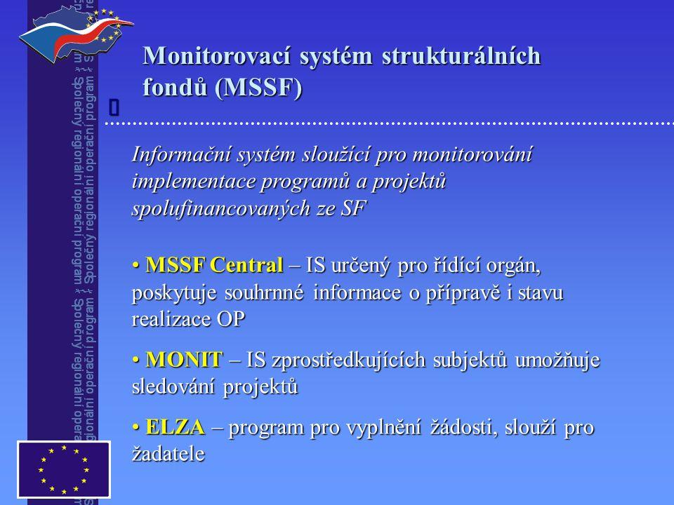 Monitorovací systém strukturálních fondů (MSSF) Informační systém sloužící pro monitorování implementace programů a projektů spolufinancovaných ze SF MSSF Central – IS určený pro řídící orgán, poskytuje souhrnné informace o přípravě i stavu realizace OP MSSF Central – IS určený pro řídící orgán, poskytuje souhrnné informace o přípravě i stavu realizace OP MONIT – IS zprostředkujících subjektů umožňuje sledování projektů MONIT – IS zprostředkujících subjektů umožňuje sledování projektů ELZA – program pro vyplnění žádosti, slouží pro žadatele ELZA – program pro vyplnění žádosti, slouží pro žadatele 