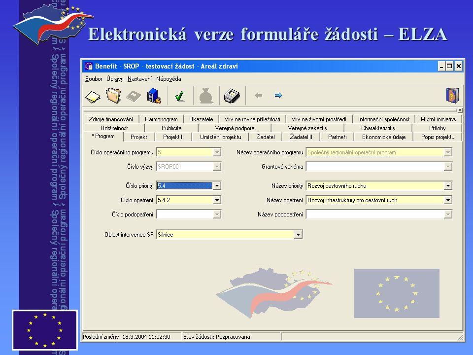 Elektronická verze formuláře žádosti – ELZA