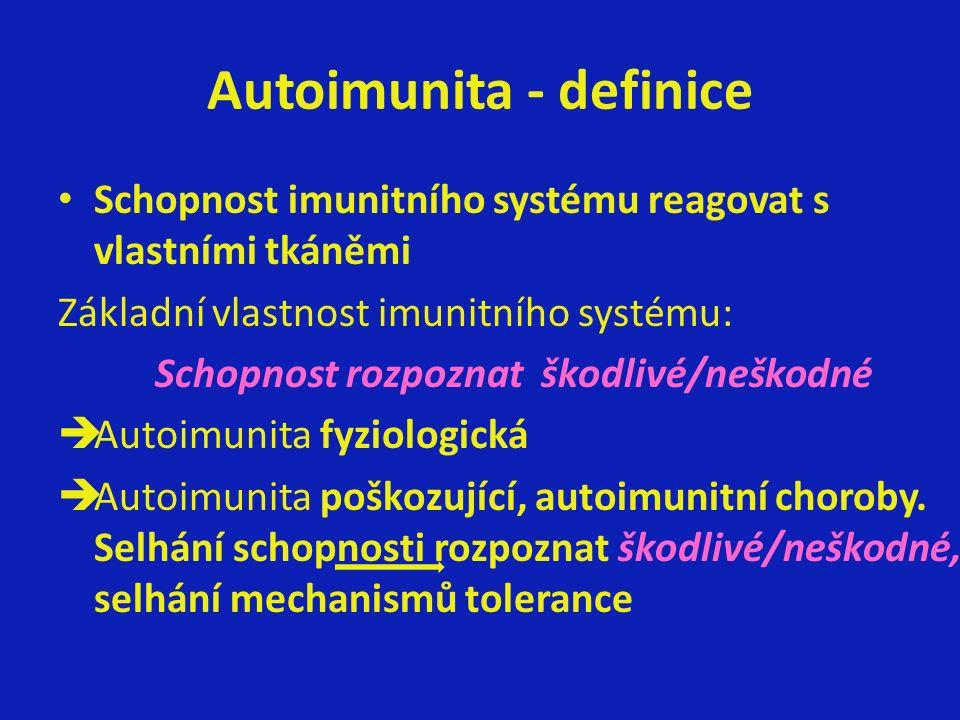 Autoimunita - definice Schopnost imunitního systému reagovat s vlastními tkáněmi Základní vlastnost imunitního systému: Schopnost rozpoznat škodlivé/neškodné èAutoimunita fyziologická èAutoimunita poškozující, autoimunitní choroby.