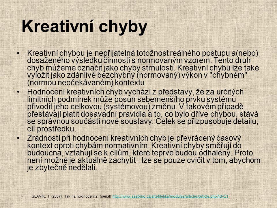 Kreativní chyby Kreativní chybou je nepřijatelná totožnost reálného postupu a(nebo) dosaženého výsledku činnosti s normovaným vzorem. Tento druh chyb