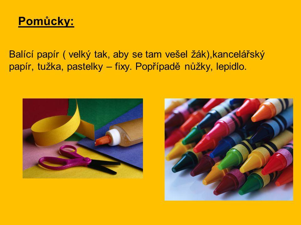 Pomůcky: Balící papír ( velký tak, aby se tam vešel žák),kancelářský papír, tužka, pastelky – fixy.