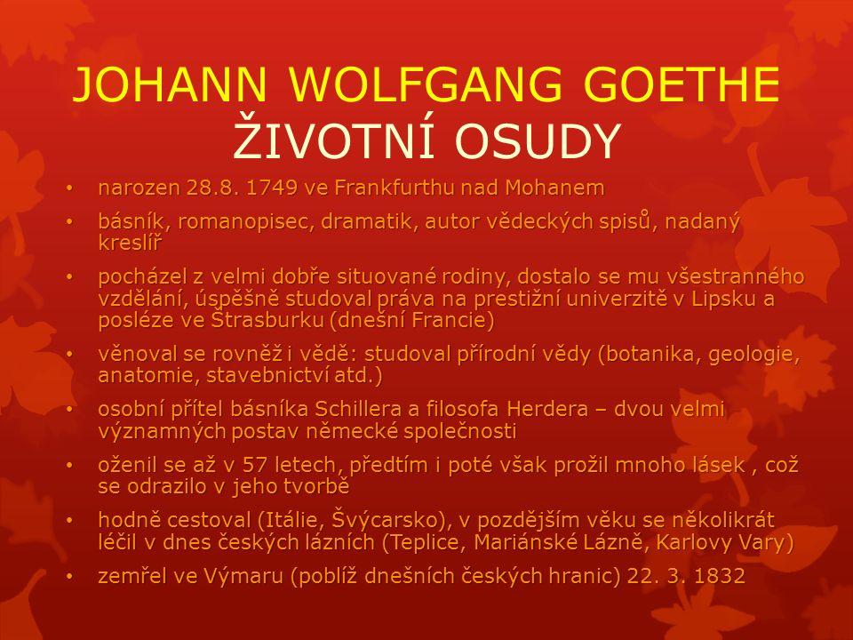 JOHANN WOLFGANG GOETHE ŽIVOTNÍ OSUDY narozen 28.8.