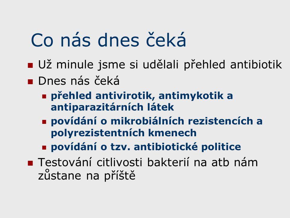 Co nás dnes čeká Už minule jsme si udělali přehled antibiotik Dnes nás čeká přehled antivirotik, antimykotik a antiparazitárních látek povídání o mikrobiálních rezistencích a polyrezistentních kmenech povídání o tzv.