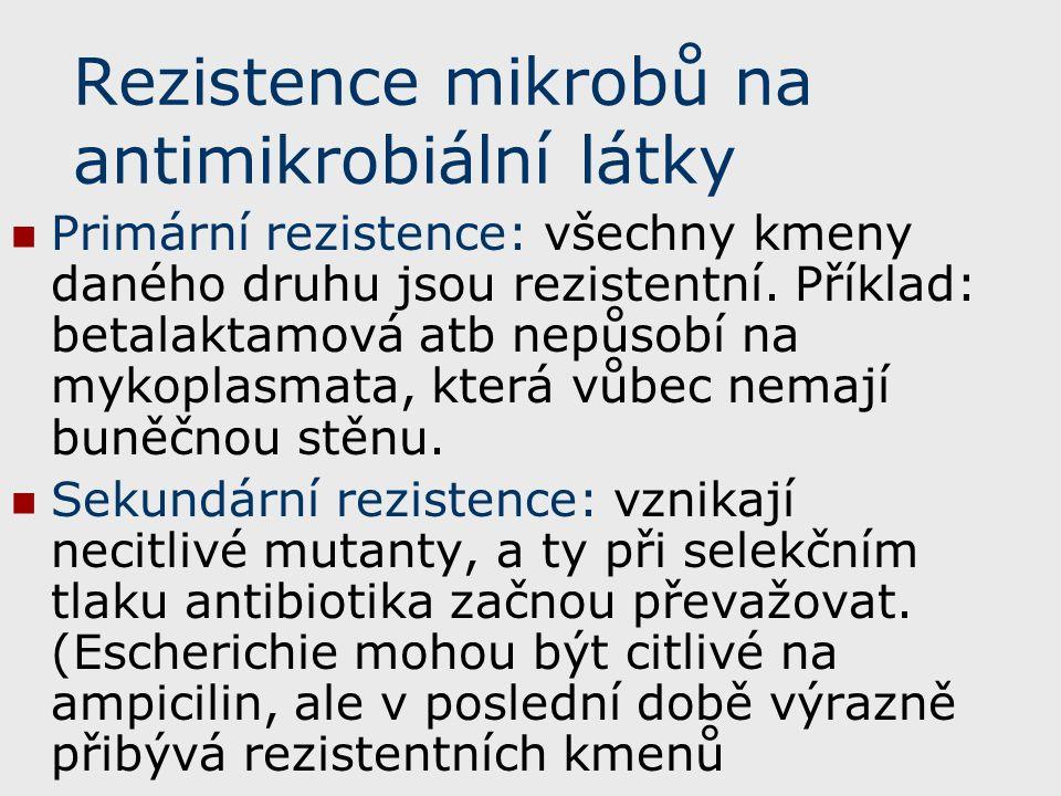 Rezistence mikrobů na antimikrobiální látky Primární rezistence: všechny kmeny daného druhu jsou rezistentní.