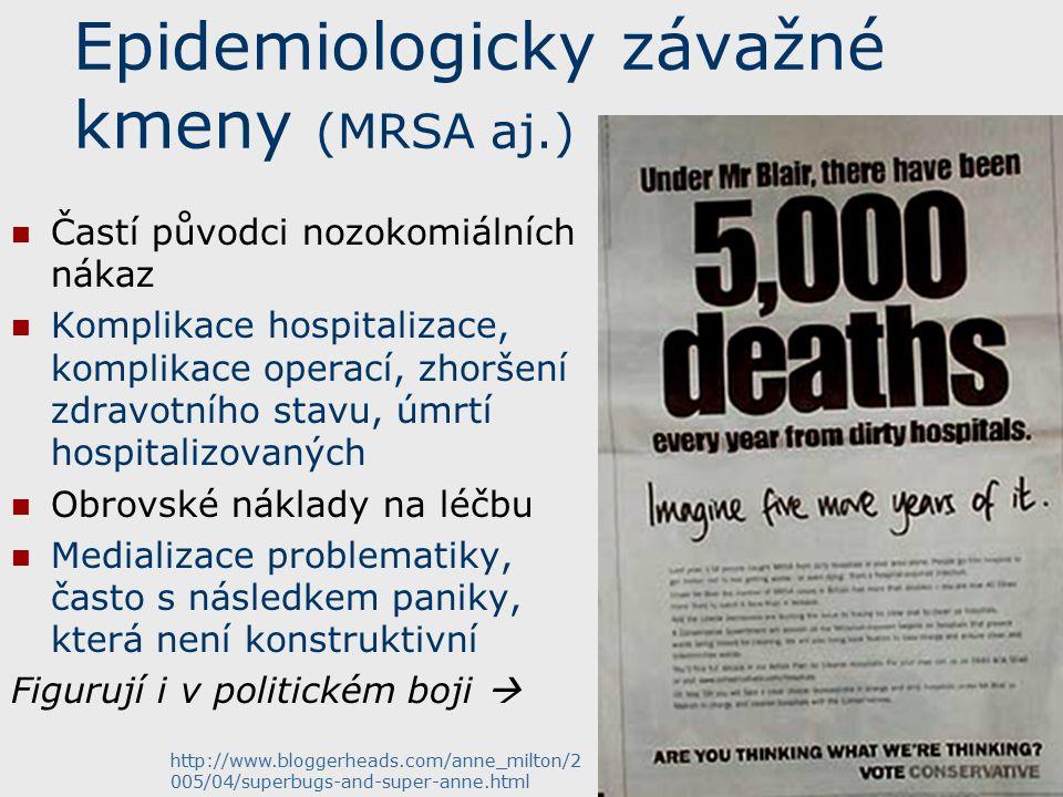 Epidemiologicky závažné kmeny (MRSA aj.) Častí původci nozokomiálních nákaz Komplikace hospitalizace, komplikace operací, zhoršení zdravotního stavu, úmrtí hospitalizovaných Obrovské náklady na léčbu Medializace problematiky, často s následkem paniky, která není konstruktivní Figurují i v politickém boji  http://www.bloggerheads.com/anne_milton/2 005/04/superbugs-and-super-anne.html