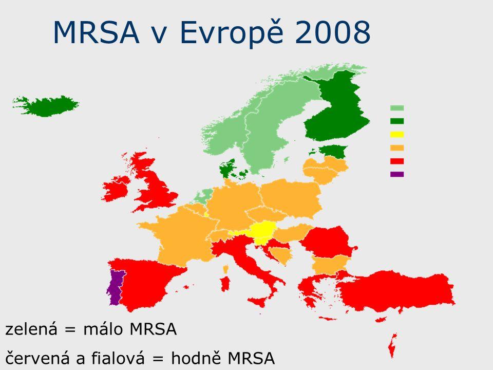 MRSA v Evropě 2008 zelená = málo MRSA červená a fialová = hodně MRSA