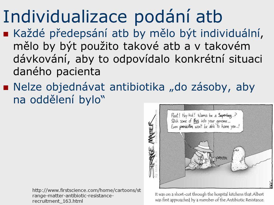 """Individualizace podání atb Každé předepsání atb by mělo být individuální, mělo by být použito takové atb a v takovém dávkování, aby to odpovídalo konkrétní situaci daného pacienta Nelze objednávat antibiotika """"do zásoby, aby na oddělení bylo http://www.firstscience.com/home/cartoons/st range-matter-antibiotic-resistance- recruitment_163.html"""