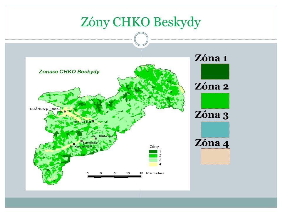 Zóny CHKO Beskydy Zóna 1 Zóna 2 Zóna 3 Zóna 4