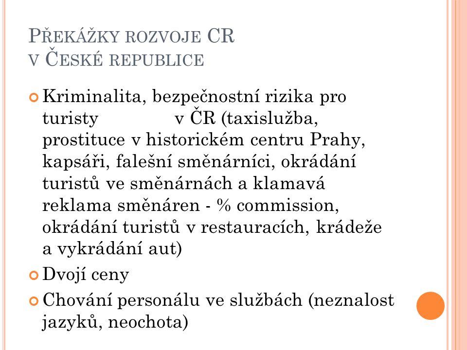 P ŘEKÁŽKY ROZVOJE CR V Č ESKÉ REPUBLICE Kriminalita, bezpečnostní rizika pro turisty v ČR (taxislužba, prostituce v historickém centru Prahy, kapsáři, falešní směnárníci, okrádání turistů ve směnárnách a klamavá reklama směnáren - % commission, okrádání turistů v restauracích, krádeže a vykrádání aut) Dvojí ceny Chování personálu ve službách (neznalost jazyků, neochota)