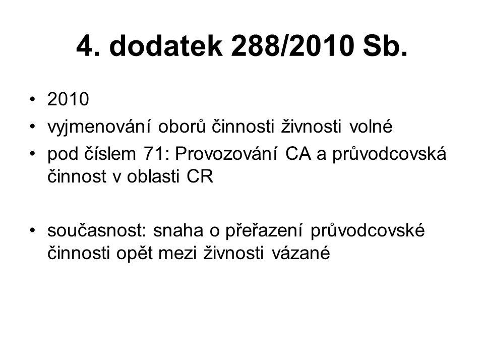 4. dodatek 288/2010 Sb. 2010 vyjmenování oborů činnosti živnosti volné pod číslem 71: Provozování CA a průvodcovská činnost v oblasti CR současnost: s