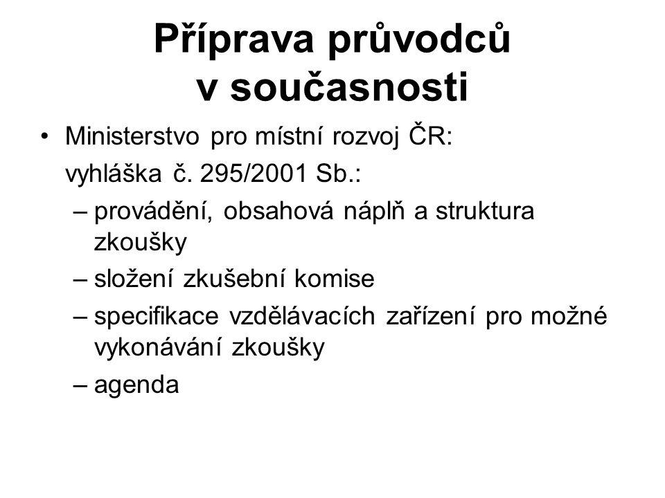 Příprava průvodců v současnosti Ministerstvo pro místní rozvoj ČR: vyhláška č.