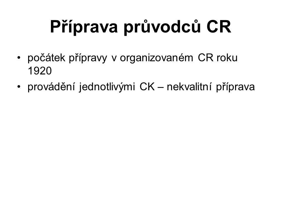 Příprava průvodců CR počátek přípravy v organizovaném CR roku 1920 provádění jednotlivými CK – nekvalitní příprava