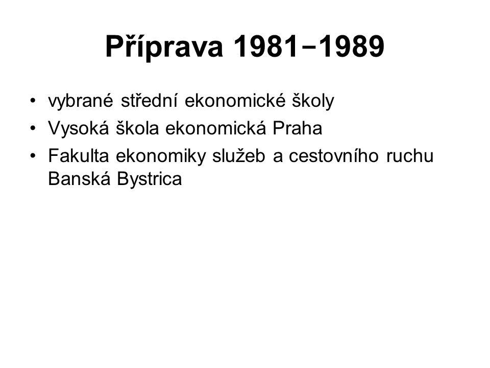 Příprava 1981 − 1989 vybrané střední ekonomické školy Vysoká škola ekonomická Praha Fakulta ekonomiky služeb a cestovního ruchu Banská Bystrica