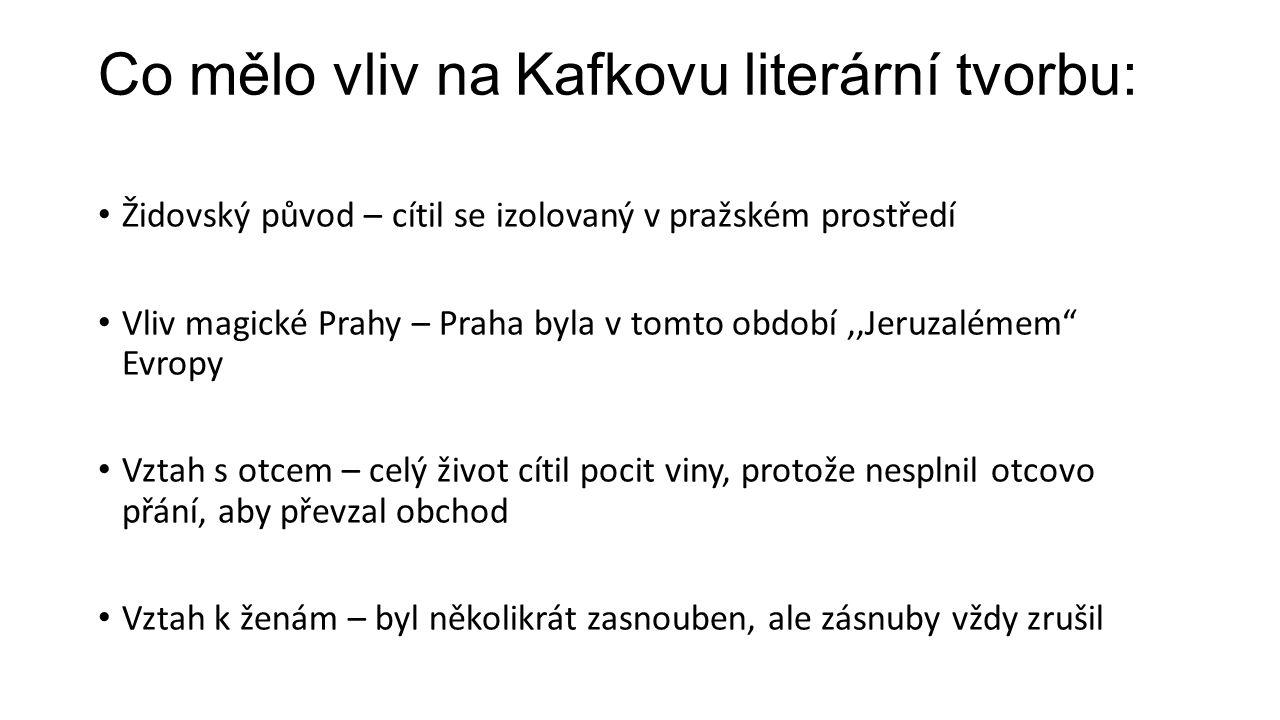 Dílo: Podstatná část Kafkova díla byla vydána až po Kafkově smrti.