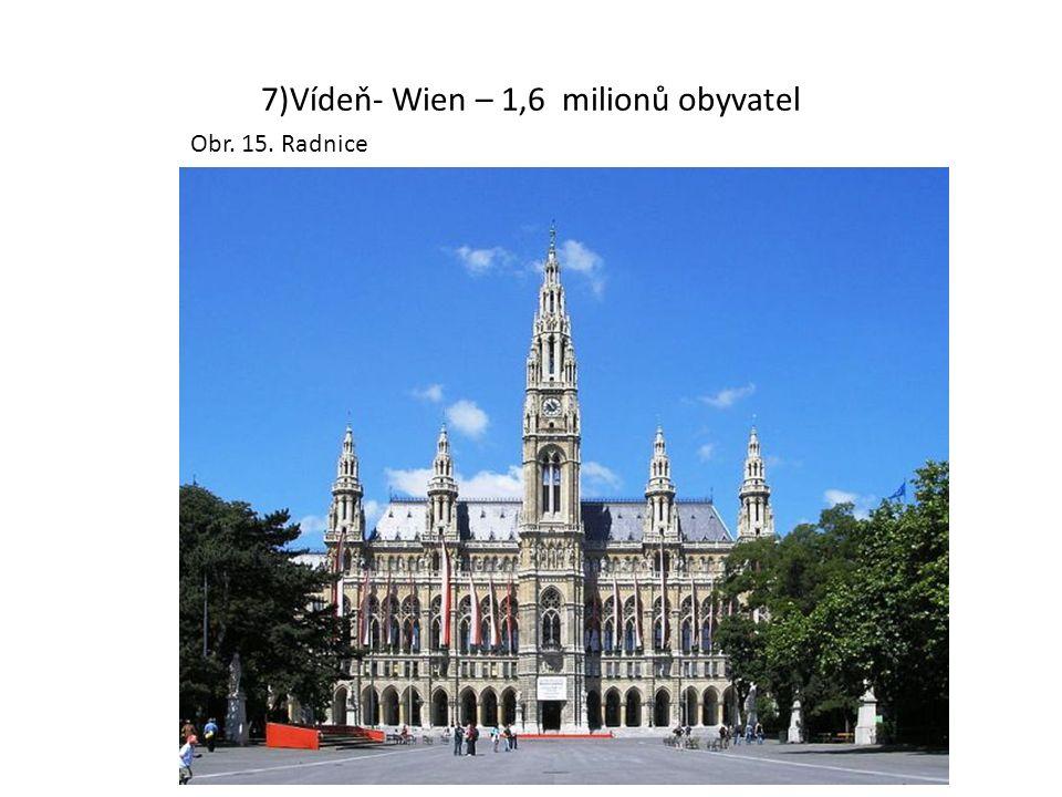 7)Vídeň- Wien – 1,6 milionů obyvatel Obr. 15. Radnice