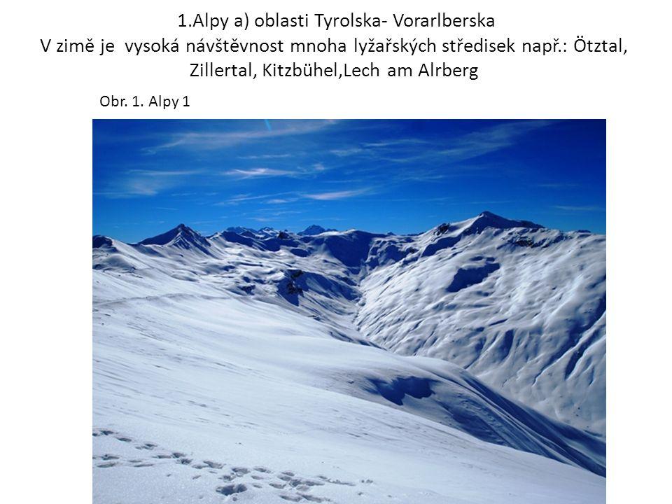 1.Alpy a) oblasti Tyrolska- Vorarlberska V zimě je vysoká návštěvnost mnoha lyžařských středisek např.: Ötztal, Zillertal, Kitzbühel,Lech am Alrberg Obr.