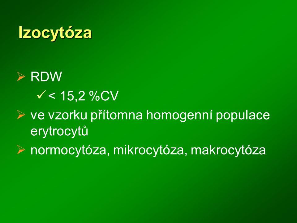 Izocytóza  RDW < 15,2 %CV  ve vzorku přítomna homogenní populace erytrocytů  normocytóza, mikrocytóza, makrocytóza