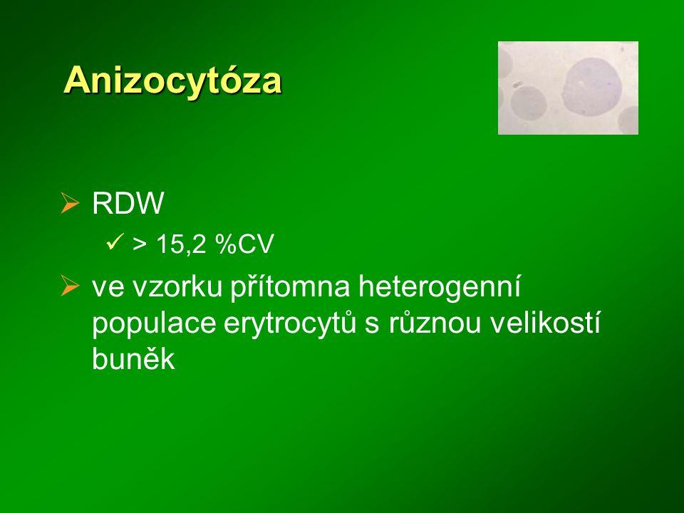 Anizocytóza  RDW > 15,2 %CV  ve vzorku přítomna heterogenní populace erytrocytů s různou velikostí buněk