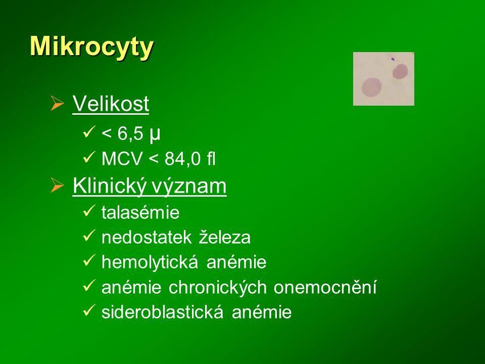 Mikrocyty  Velikost < 6,5 μ MCV < 84,0 fl  Klinický význam talasémie nedostatek železa hemolytická anémie anémie chronických onemocnění sideroblasti