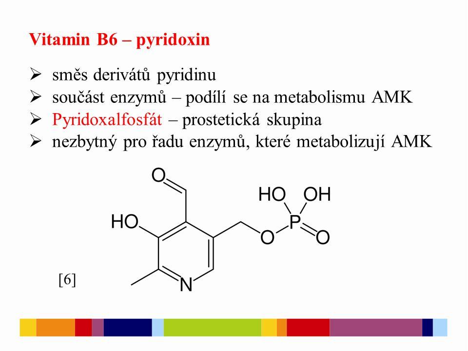 Vitamin B6 – pyridoxin  směs derivátů pyridinu  součást enzymů – podílí se na metabolismu AMK  Pyridoxalfosfát – prostetická skupina  nezbytný pro