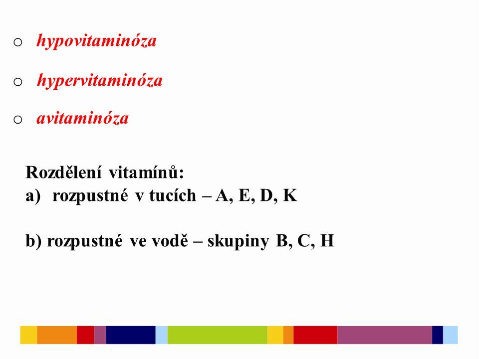 o hypovitaminóza o hypervitaminóza o avitaminóza Rozdělení vitamínů: a)rozpustné v tucích – A, E, D, K b) rozpustné ve vodě – skupiny B, C, H