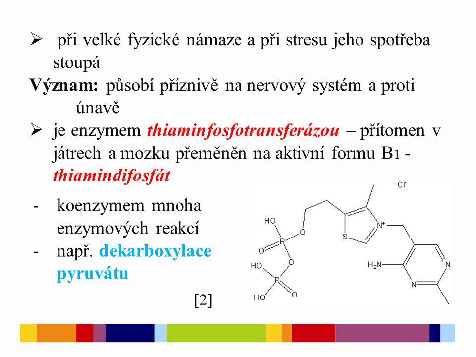  při velké fyzické námaze a při stresu jeho spotřeba stoupá Význam: působí příznivě na nervový systém a proti únavě  je enzymem thiaminfosfotransfer