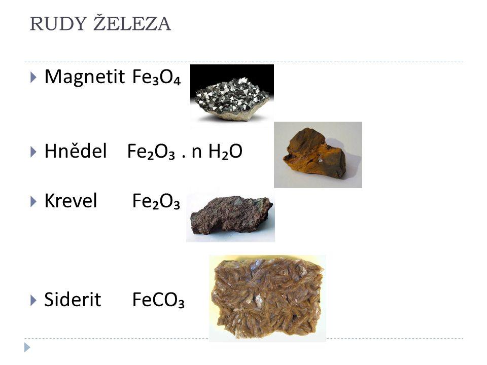 RUDY ŽELEZA  Magnetit Fe₃O₄  HnědelFe₂O₃. n H₂O  Krevel Fe₂O₃  Siderit FeCO₃