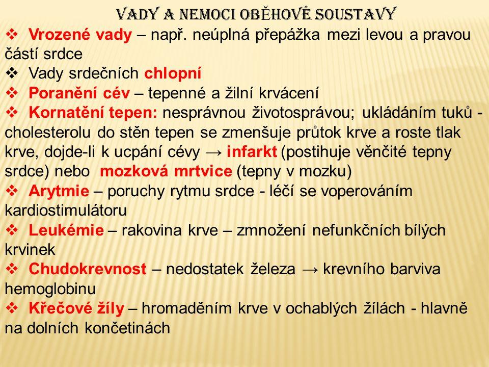VADY A NEMOCI OB Ě HOVÉ SOUSTAVY  Vrozené vady – např.