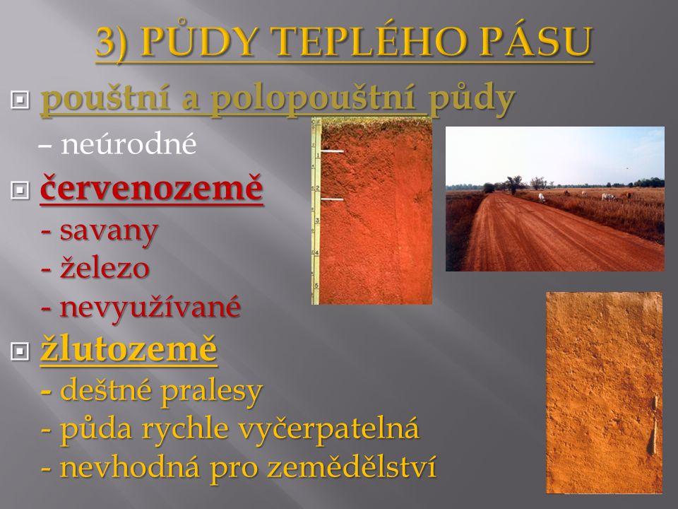  pouštní a polopouštní půdy – neúrodné  červenozemě - savany - savany - železo - železo - nevyužívané - nevyužívané  žlutozemě - deštné pralesy - deštné pralesy - půda rychle vyčerpatelná - půda rychle vyčerpatelná - nevhodná pro zemědělství - nevhodná pro zemědělství