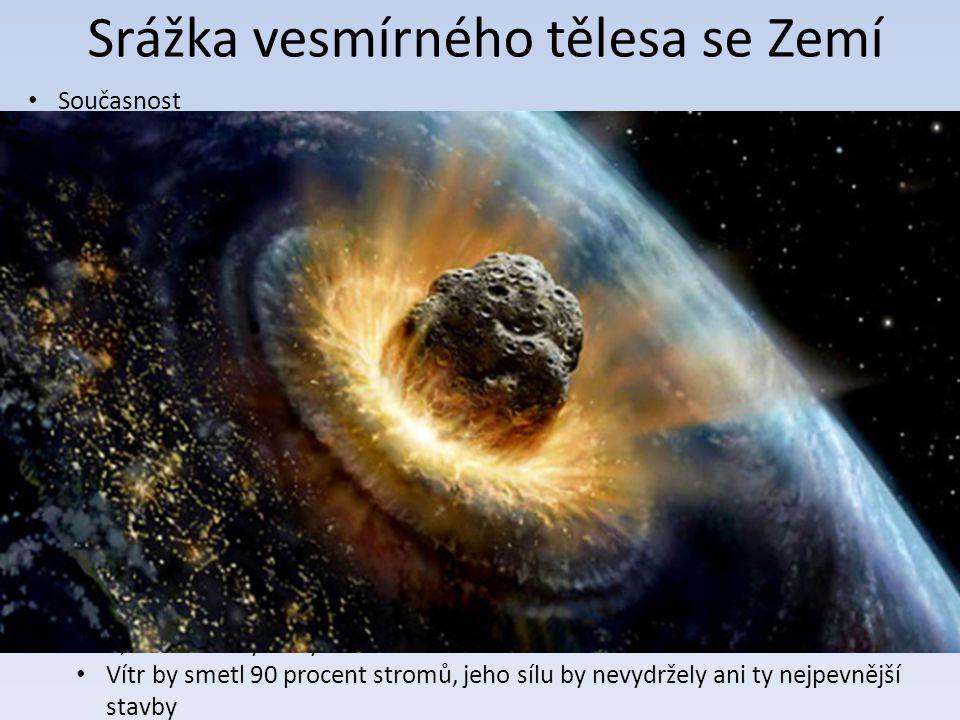 Srážka vesmírného tělesa se Zemí Současnost Na Zemi dopadá za rok 5000 až 17 000 tun meteorického materiálu Většina meteoritů se při průletu zemskou atmosférou roztaví a vypaří Následky na Zemi Pád do oceánu Naše planeta by zásahem asteroidu příliš neutrpěla Asi minutu po jeho dopadu by se začala třást země silou 6,8 na Richterově škále Dvanáct minut po dopadu asteroidu do moře by dorazila tlaková vlna Vítr způsobený zvukovou vlnou by měl rychlost téměř 13 m/s Zdaleka nejhorší důsledky pádu asteroidu do moře by byla tsunami.