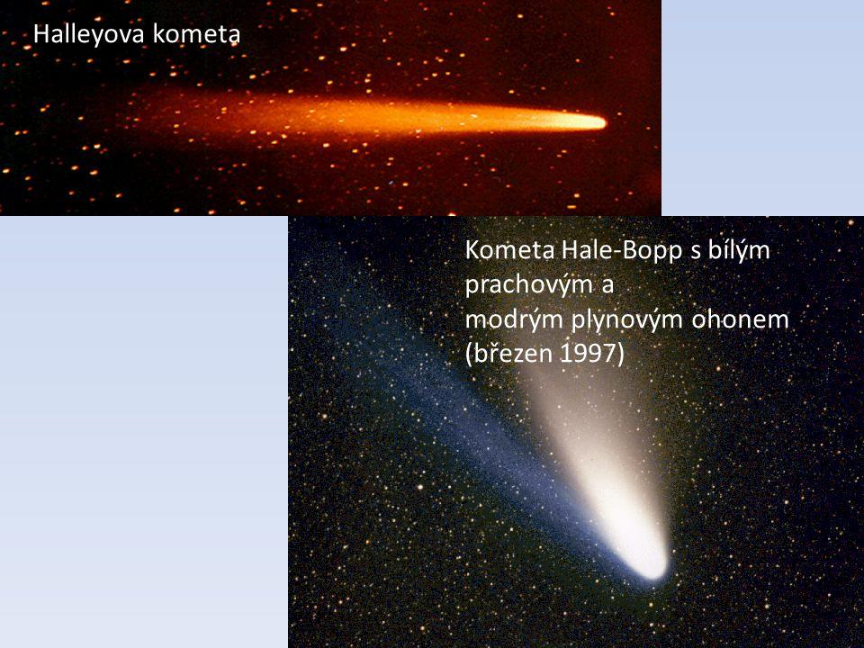 Halleyova kometa Kometa Hale-Bopp s bílým prachovým a modrým plynovým ohonem (březen 1997)