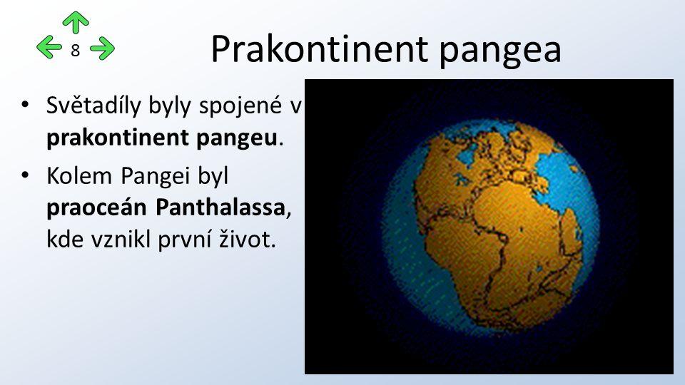 Prakontinent pangea Světadíly byly spojené v prakontinent pangeu.