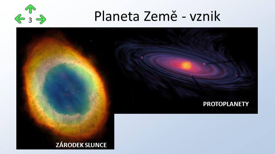 Planeta Země - vznik Protoplanetární mrak – V Galaxii se vytvořily zárodky Slunce a planet (= protoplanety).