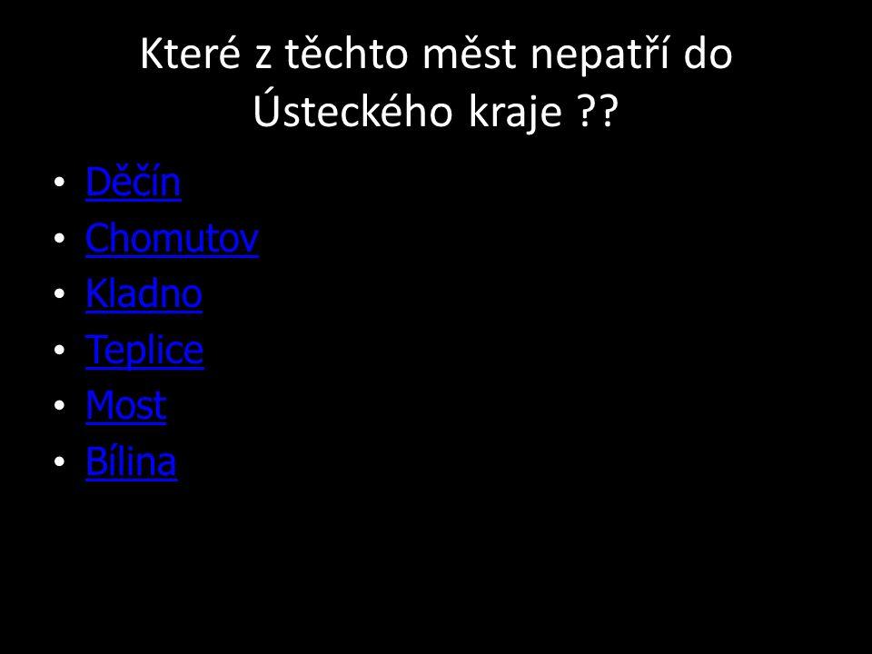 Které z těchto měst nepatří do Ústeckého kraje Děčín Chomutov Kladno Teplice Most Bílina
