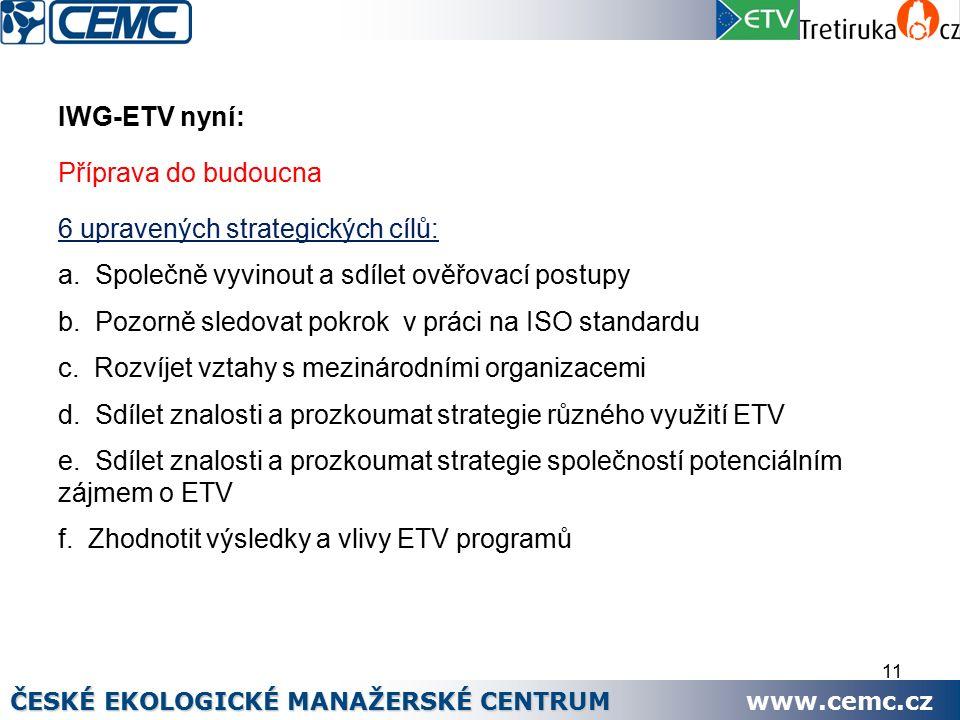 11 IWG-ETV nyní: Příprava do budoucna 6 upravených strategických cílů: a.