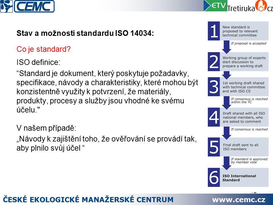 12 Stav a možnosti standardu ISO 14034: Co je standard.