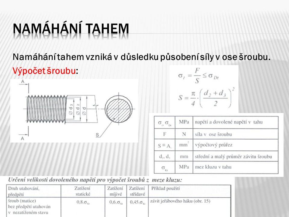 Namáhání tahem vzniká v důsledku působení síly v ose šroubu. Výpočet šroubu: