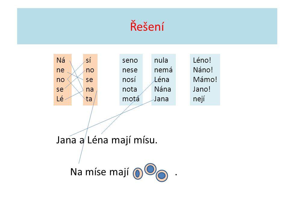 Řešení Ná ne no se Lé sí no se na ta seno nese nosí nota motá nula nemá Léna Nána Jana Léno.