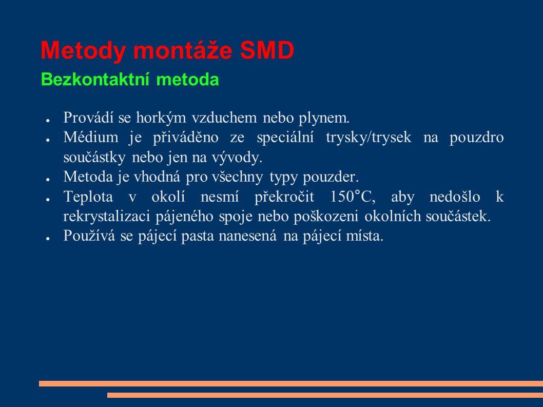 Metody montáže SMD Bezkontaktní metoda ● Provádí se horkým vzduchem nebo plynem.