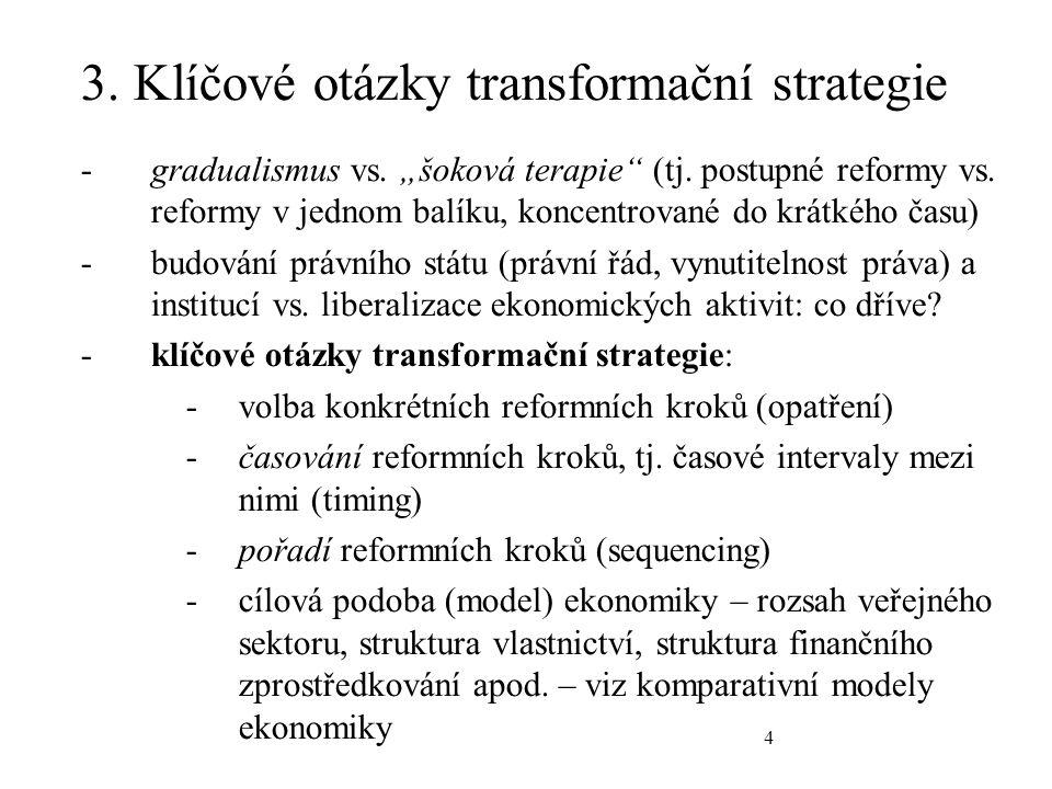 4 3. Klíčové otázky transformační strategie -gradualismus vs.