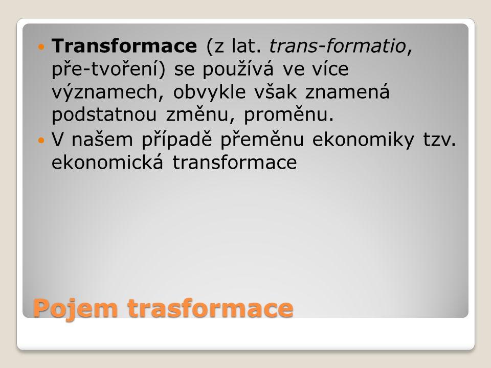 Pojem trasformace Transformace (z lat. trans-formatio, pře-tvoření) se používá ve více významech, obvykle však znamená podstatnou změnu, proměnu. V na