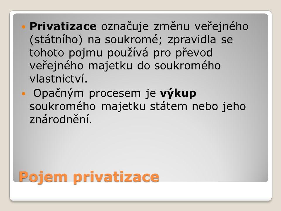 Pojem privatizace Privatizace označuje změnu veřejného (státního) na soukromé; zpravidla se tohoto pojmu používá pro převod veřejného majetku do soukromého vlastnictví.