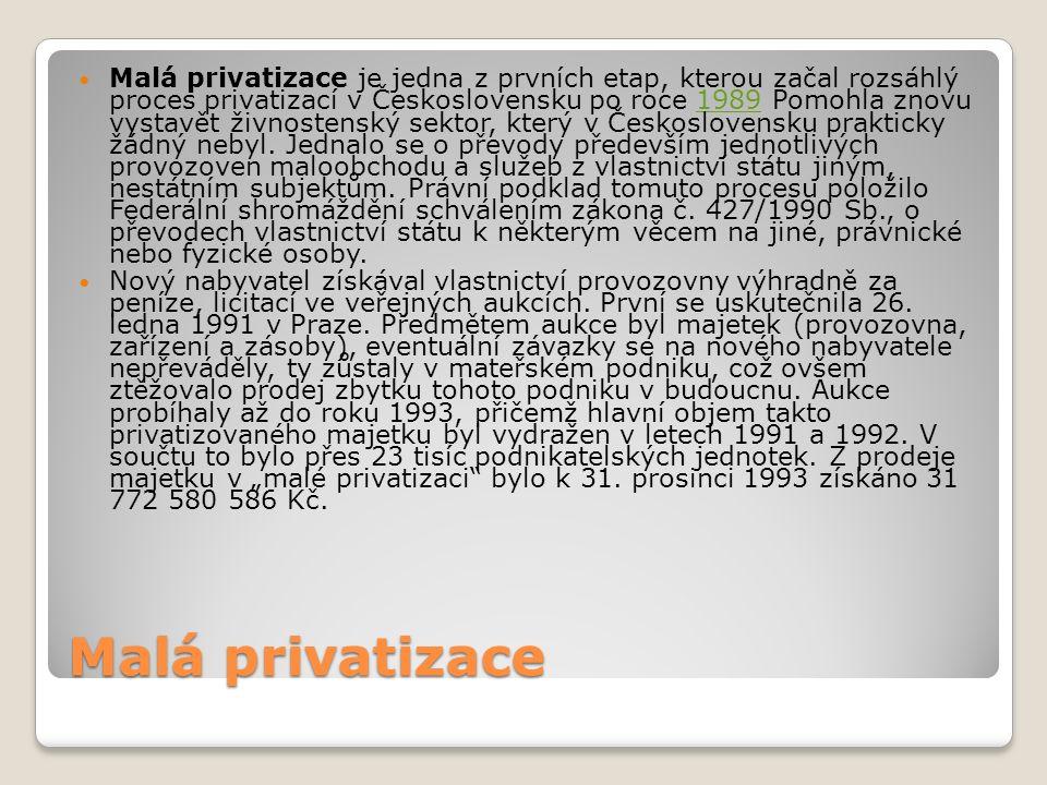 Malá privatizace Malá privatizace je jedna z prvních etap, kterou začal rozsáhlý proces privatizací v Československu po roce 1989 Pomohla znovu vystavět živnostenský sektor, který v Československu prakticky žádný nebyl.