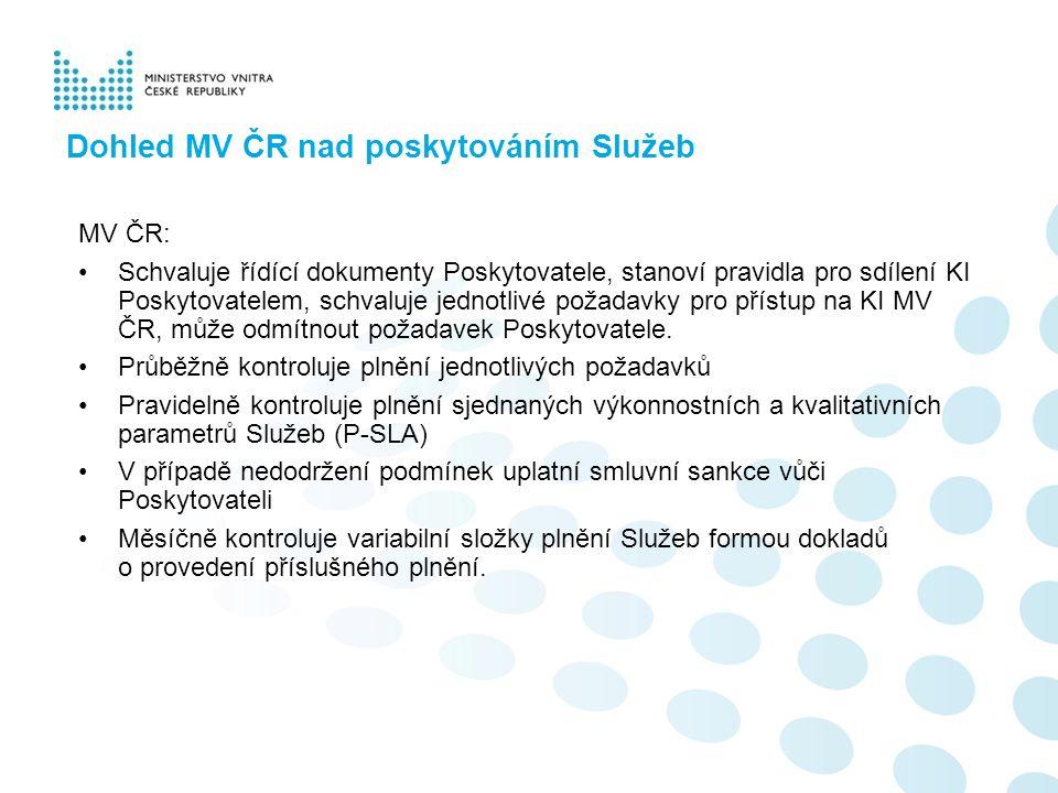 Dohled MV ČR nad poskytováním Služeb MV ČR: Schvaluje řídící dokumenty Poskytovatele, stanoví pravidla pro sdílení KI Poskytovatelem, schvaluje jednotlivé požadavky pro přístup na KI MV ČR, může odmítnout požadavek Poskytovatele.