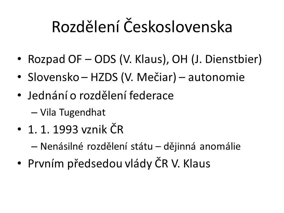 Rozdělení Československa Rozpad OF – ODS (V.Klaus), OH (J.