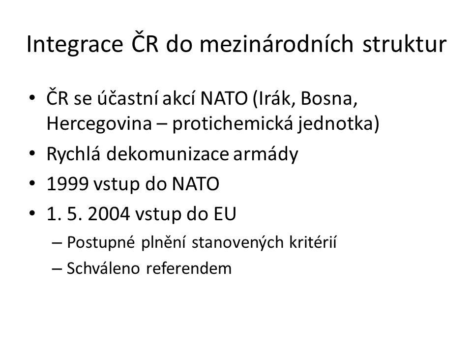 Integrace ČR do mezinárodních struktur ČR se účastní akcí NATO (Irák, Bosna, Hercegovina – protichemická jednotka) Rychlá dekomunizace armády 1999 vstup do NATO 1.