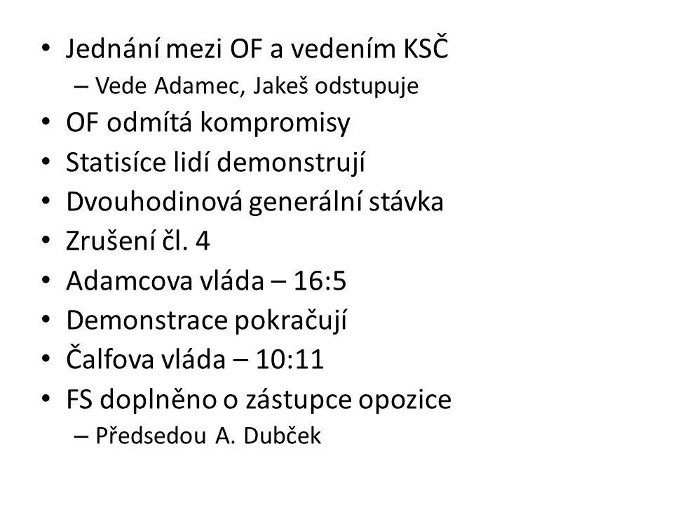 Jednání mezi OF a vedením KSČ – Vede Adamec, Jakeš odstupuje OF odmítá kompromisy Statisíce lidí demonstrují Dvouhodinová generální stávka Zrušení čl.