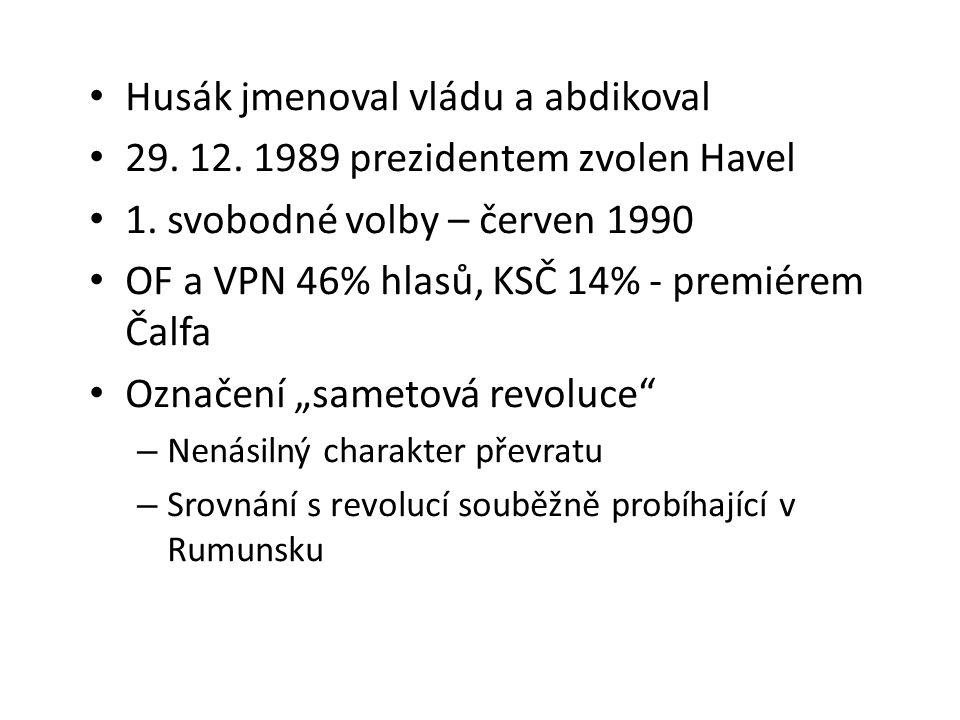 Husák jmenoval vládu a abdikoval 29.12. 1989 prezidentem zvolen Havel 1.
